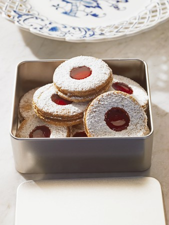 dodgers: Jam biscuits with icing sugar