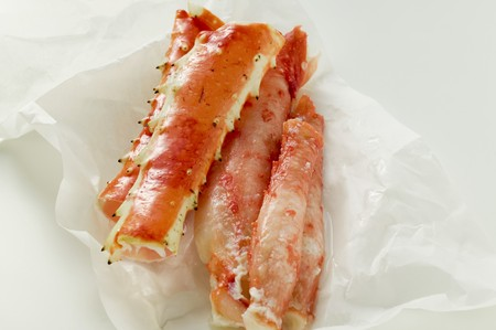 marine crustaceans: King crab legs on wrapping paper