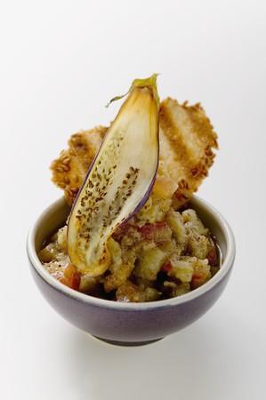 sesame cracker: Aubergine salad with sesame cracker