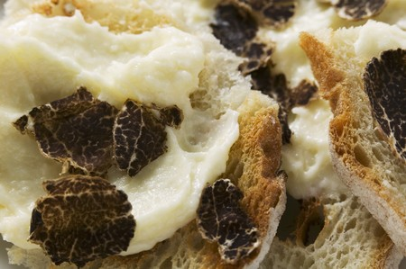 sandwich spread: White bread with truffle spread (close-up) LANG_EVOIMAGES