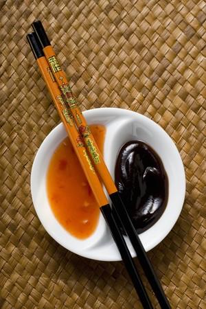 hoisin sauce: Hoisin sauce and sweet and sour chili sauce (Asia)