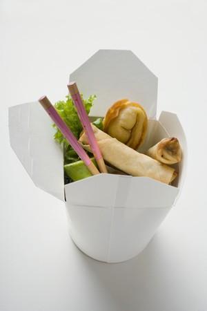 take away: Deep-fried wontons and spring rolls to take away