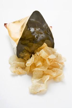 opened bag: Potato crisps in opened bag LANG_EVOIMAGES