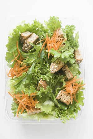 takeout: Salad leaves with carrots and croutons in take-out box LANG_EVOIMAGES