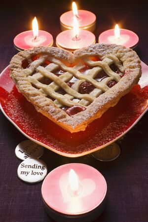 heartshaped: Cherry pie on heart-shaped plate for Valentines Day