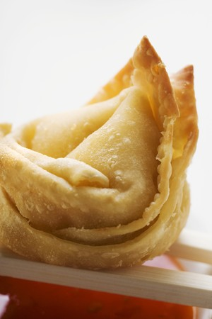 tans: One deep-fried wonton with sweet and sour sauce (close-up) LANG_EVOIMAGES