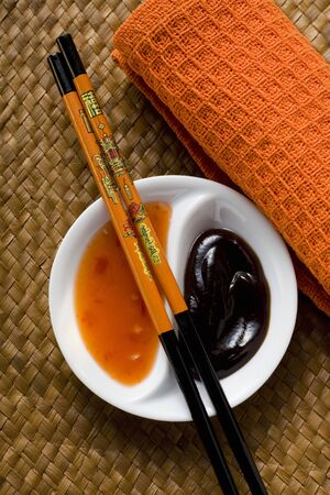 hoisin: Hoisin sauce and sweet and sour chili sauce (Asia)