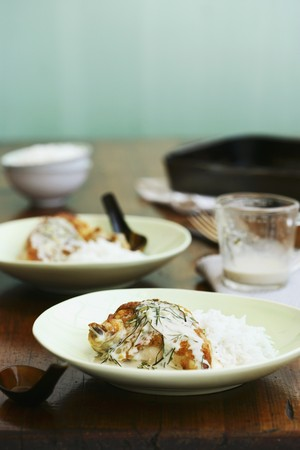 kafir lime: Maryland chicken with a coconut and kaffir lime sauce served with rice