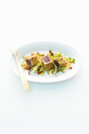 overexposed: Tuna fish on a bed of vegetables
