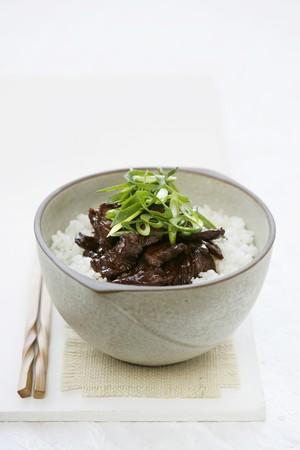 teriyaki: Teriyaki beef with rice