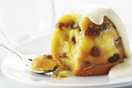 turned out: Bread and butter pudding with raisins