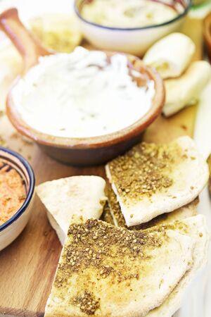 pita bread: Pita bread and babaganoush LANG_EVOIMAGES
