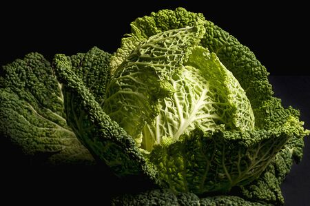 noone: Savoy Cabbage on a black surface