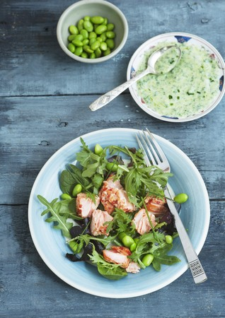 broad leaf: Mixed leaf salad with hot smoked salmon, broad beans, soya beans, chives and a herb dressing