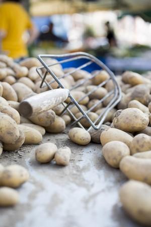 tuberous: Potatoes at a market