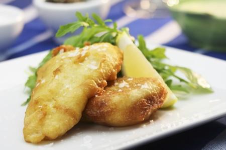 arugola: Battered hake with lemon, rocket and salt flakes