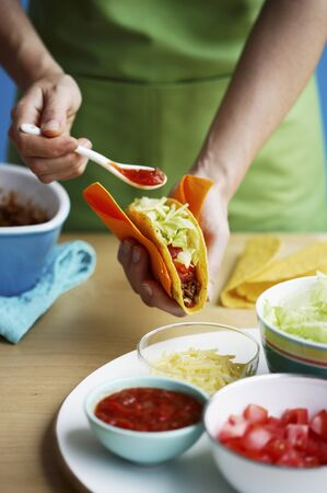 tacos: Tacos being made