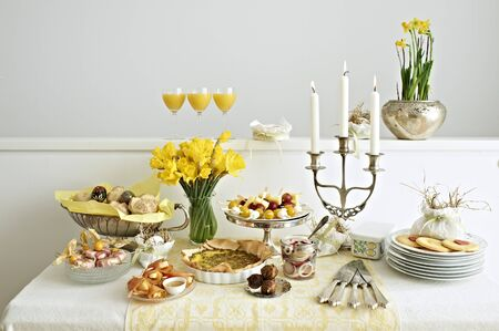 easter candle is burning: A buffet for Easter brunch