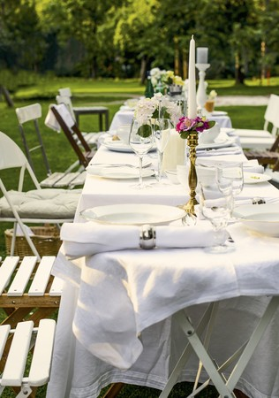 garden furniture: A table laid for a summer garden party