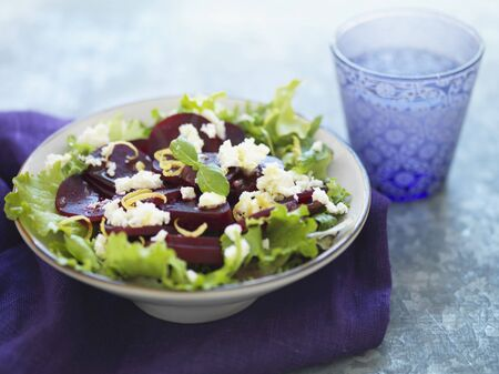 redness: Beetroot salad with sheeps cheese and lemon zest