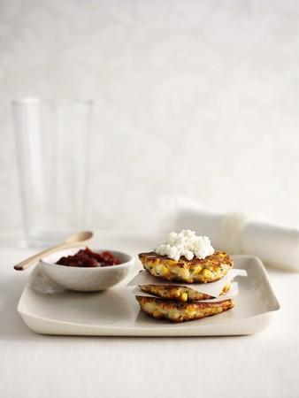 sweetcorn: Sweetcorn cakes with ricotta