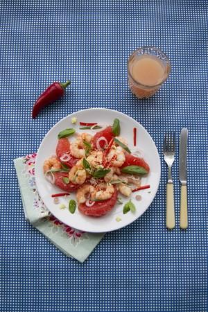 lemongrass: Grapefruit and prawn salad with chilli, lemongrass, Thai basil and grated coconut (Asia)