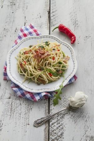 arugola: Spaghetti with bacon, chilli, mascarpone, rocket and capers