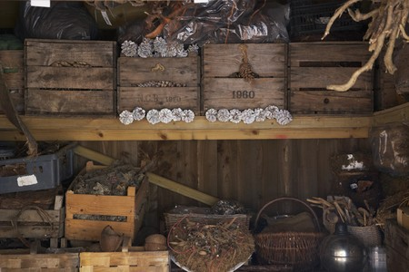 log basket: Baskets and old wooden boxes filled with pine cones on a shelf in a storage shed LANG_EVOIMAGES