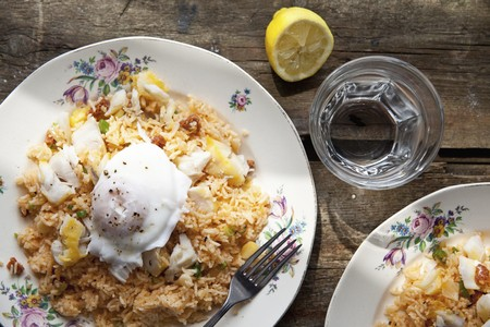 haddock: Smoked cod and chorizo kedgeree with a poached egg LANG_EVOIMAGES