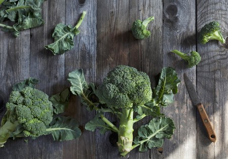 broccolli: Broccoli on a rustic wooden table