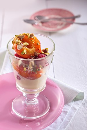 melba: Peach Melba con frambuesas