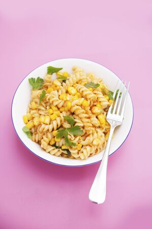 lowfat: Spicy fusilli pasta with sweetcorn and parsley