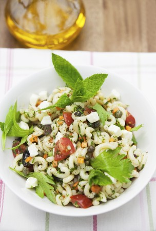 pasta salad: Summer pasta salad with olives and capers