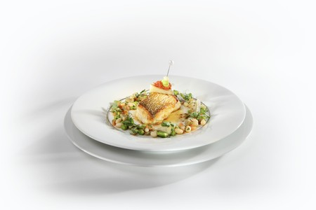 coquille: Souffléd grayling with scallops served with spiced butter and beans