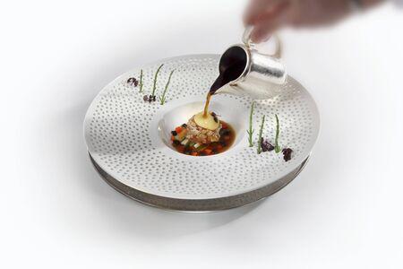 grayling: Grayling tartar with wasabi bubbles and shiitake mushroom essence