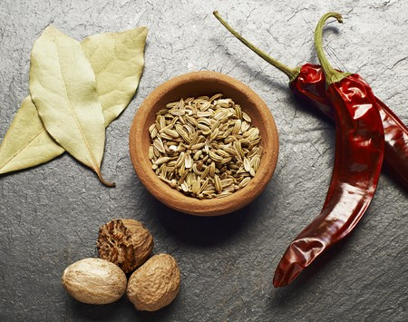 fennel seeds: Fennel seeds, bay leaves, nutmeg and dried chilli peppers