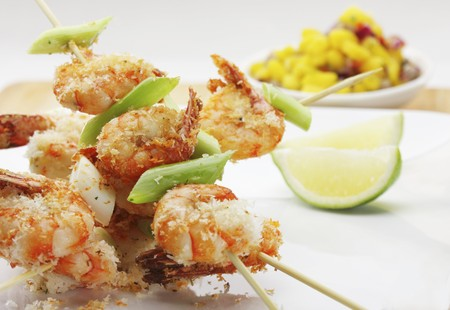 citrus family: Crispy fried crayfish skewers with lime and grated coconut
