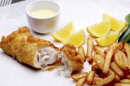 hake: Battered hake with a dip and chips