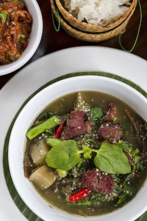 legumbres secas: Curry de Luang Prabang con carne de cerdo y verduras (Vientiane, Laos) seca