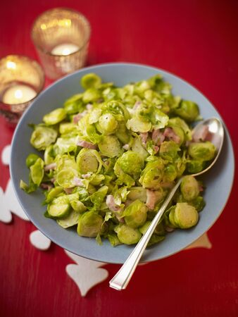 candlelit: Brussels sprouts with ham