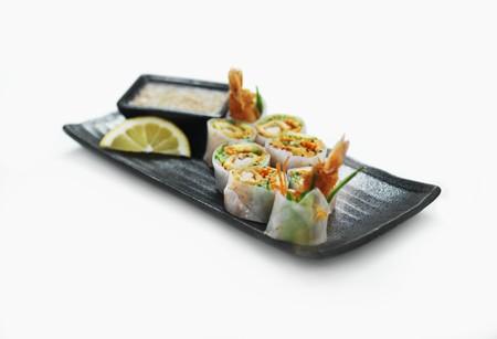 rice paper: Rice paper maki with prawns