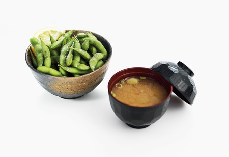 soya beans: Miso soup and salted soya beans (Japan)