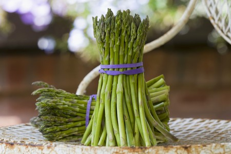 bunches: Two bunches of green asparagus