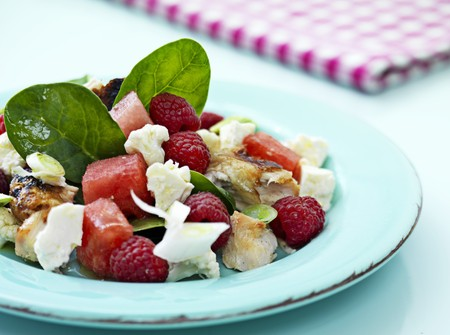 chicken salad: Chicken salad with watermelon and raspberries