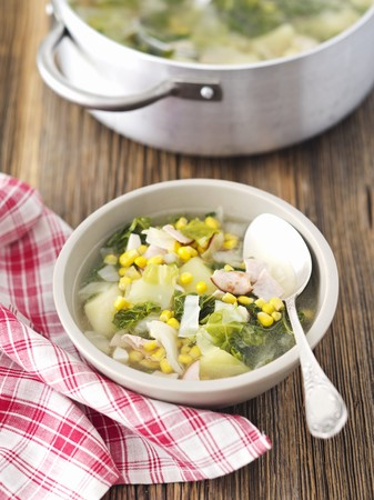 sweetcorn: Savoy cabbage soup with ham and sweetcorn LANG_EVOIMAGES