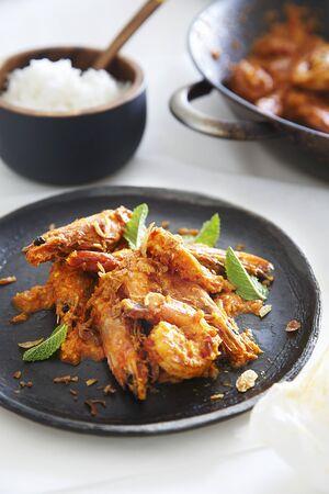 sambal: Prawns with sambal and a side of rice (Malaysia)