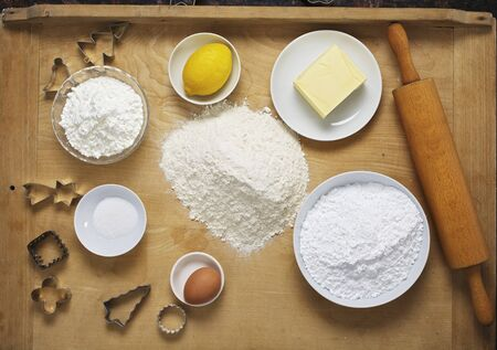 grain and cereal products: Ingredients for baking Christmas biscuits LANG_EVOIMAGES