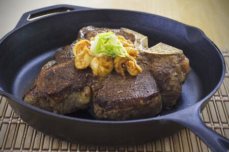 porterhouse: Porterhouse steak with shrimps and garlic butter