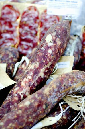 cider: Cider and sage salami at a market LANG_EVOIMAGES