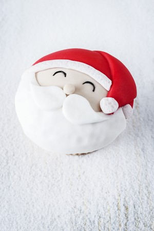 childrens food: A Father Christmas cupcake LANG_EVOIMAGES